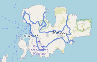 Cycling route in Greece starting from Mykonos