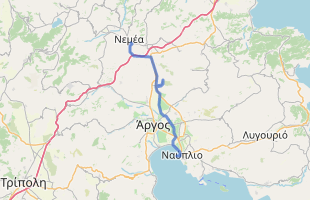 Cycling route in Greece starting from Nemea