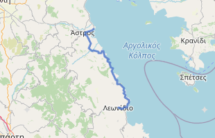 Cycling route in Greece starting from Paralio Astros