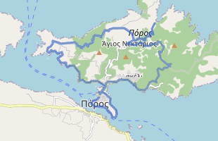 Cycling route in Greece starting from Poros Island