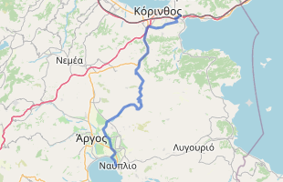 Cycling route in Greece starting from Corinth