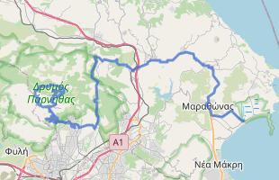 Cycling route in Greece starting from mt Parnitha