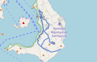Cycling route in Greece starting from Santorini Island