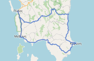 Cycling route in Greece starting from Pilos
