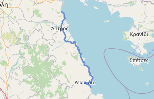 Cycling route in Greece starting from Xiropigado
