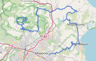 Cycling route in Greece starting from mt. Parnitha