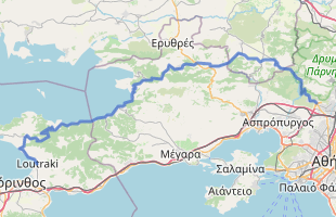Cycling route in Greece starting from mt Phyli