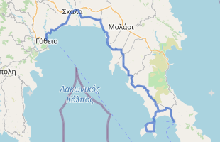 Cycling route in Greece starting from Gytheio