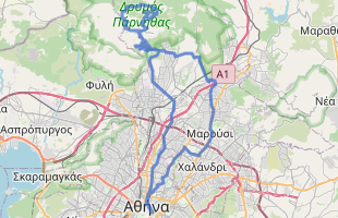 Cycling route in Greece starting from Athens