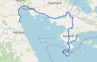 Cycling route in Greece starting from Ermioni