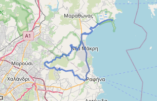 Cycling route in Greece starting from Dikastika