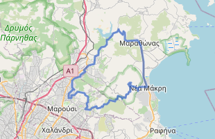 Cycling route in Greece starting from Kifisia