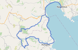 Cycling route in Greece starting from Nafplio